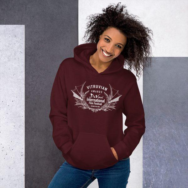 unisex heavy blend hoodie maroon front 6019d1b17ddd6 DIFF Vitruvian Laurel Unisex Hoodie
