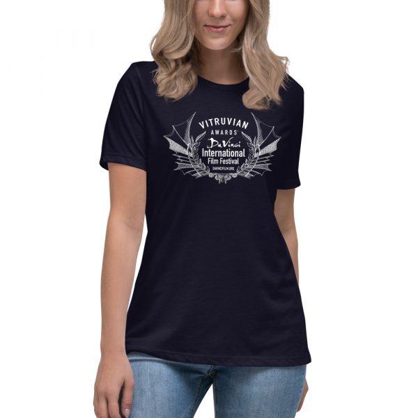 womens relaxed t shirt navy front 6019d1e1a0d40 DIFF Laurel Women's Relaxed T-Shirt